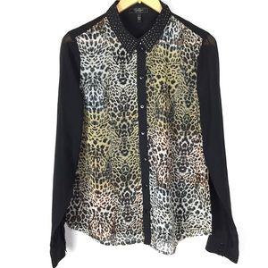 Jessica Simpson sheer cheetah button up blouse top